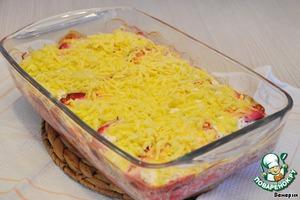 Рецепт Минтай, запеченный со свеклой под сметанно-укропным соусом