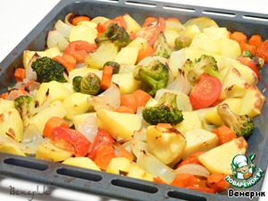 Рецепт Сочные куриные крылья в хрустящей сырной панировке с запеченными овощами на гарнир