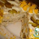 Закусочный тортик из курицы с сыром