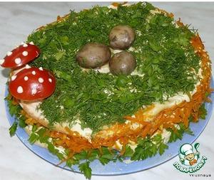 """Рецепт Закусочный торт """"Грибная полянка"""""""