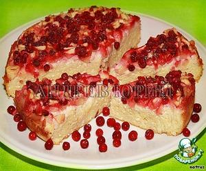 Рецепт Творожная запеканка с яблоками и брусникой