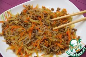 рецепт салата из фунчозы с мясом