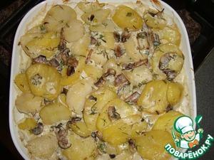 картошка с грибами со сметаной и сыром в духовке