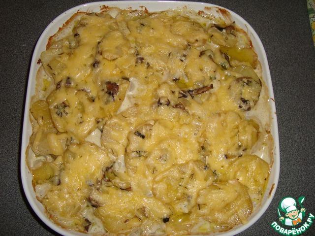 картошка с курицей в сметане в духовке рецепт с фото