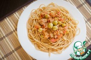 Рецепт Цельнозерновые спагетти с тунцом