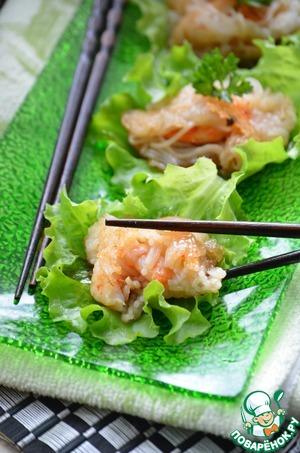 Рецепт Жареные креветки в рисовой лапше