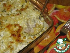 Рецепт Рыба, запеченная с кукурузной крупой и сыром