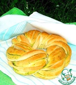 Рецепт Калач с чесноком и шпинатом