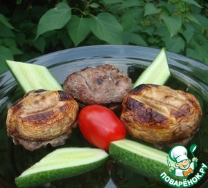 Рецепт Шампиньоны с мясной начинкой на мангале