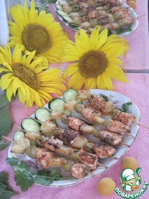 Рецепт Шашлык из семги с ананасом и виноградом
