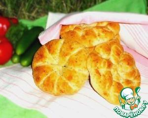 Рецепт Булочки-лепёшки с сыром, луком и зеленью