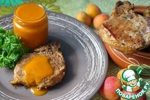 Рецепт Свиной антрекот на гриле и абрикосовый соус