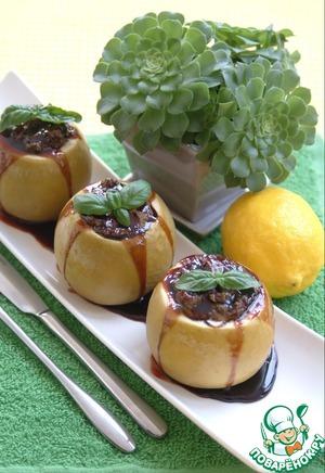 Рецепт Яблоки запеченные с нежным куриным паштетом под ежевичным соусом