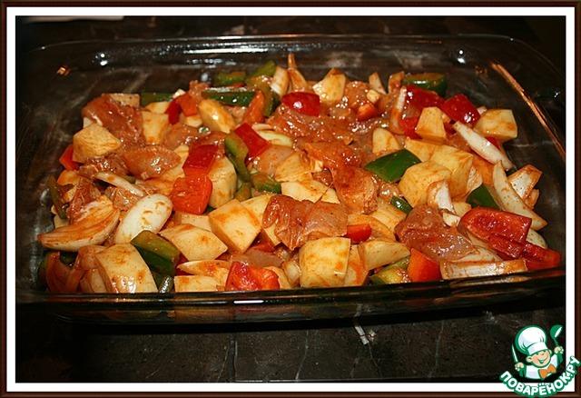 картошка в духовке с курицей и овощами рецепт с фото