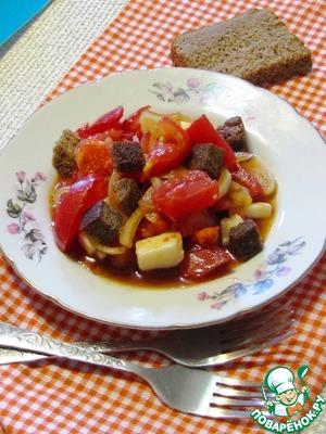 Рецепт Салат из помидоров с хлебом