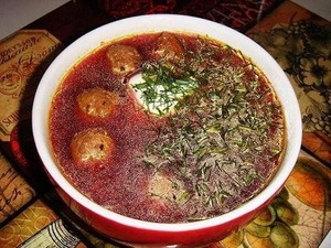 Latvian meatball soup