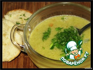 Cream of chicken soup with green peas