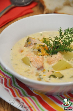 Cheesy fish soup