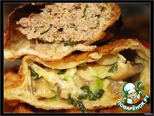 """Рецепт Чебуреки """"С мясом"""", """"С грибами и сыром"""""""