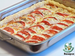 Рецепт Слоеный пирог с моцареллой и помидорами