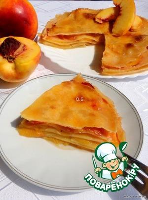 """Рецепт """"Ленивый"""" штрудель с персиками"""
