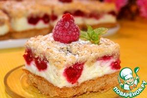 Рецепт Пирог с малиной и воздушным пудингом