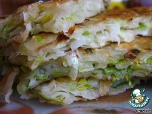 """Рецепт Китайские лепeшки с луком-пореем """"Cong hua bing"""""""