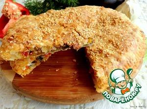 Рецепт Сырно-слоеный пирог с карамелизированными баклажанами