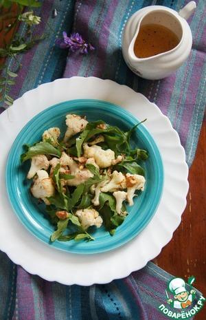 Рецепт Салат из запечённой цветной капусты с рукколой и орехами