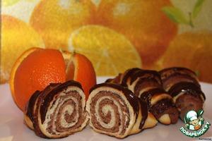 Рецепт Сдобные рогалики с какао и орехо-маковой начинкой