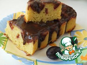 Рецепт Фруктовый манник с шоколадной глазурью