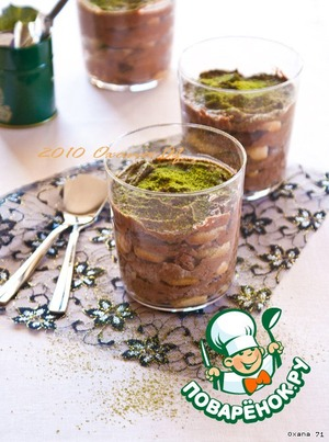 Тирамису с зелeным чаем Матча и шоколадом простой пошаговый рецепт приготовления с фотографиями как готовить