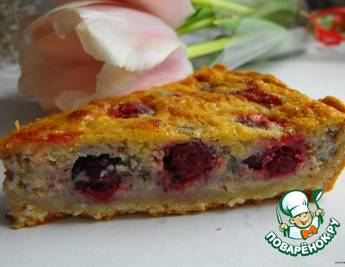 Рецепт: Заливной пирог с вишней