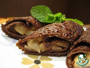 Рецепт Шоколадные блинчики с карамельными яблоками