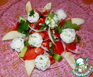Рецепт Овощной салат с творожно-огуречными шариками и грушей