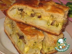 Рецепт Пирог  картофельно-грибной с сыром