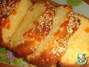 Рецепт Апельсиновый кекс с курагой и кунжутом