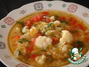 Рецепт: Суп из чечевицы с цветной капустой