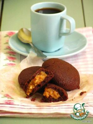 Рецепт Шоколадные подушечки с начинкой из арахисовой пасты