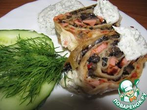 Рецепт Рулет с колбасой и грибами