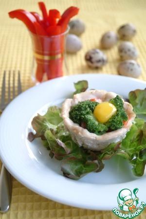 Рецепт Куриные корзинки с моцареллой, креветками и брокколи