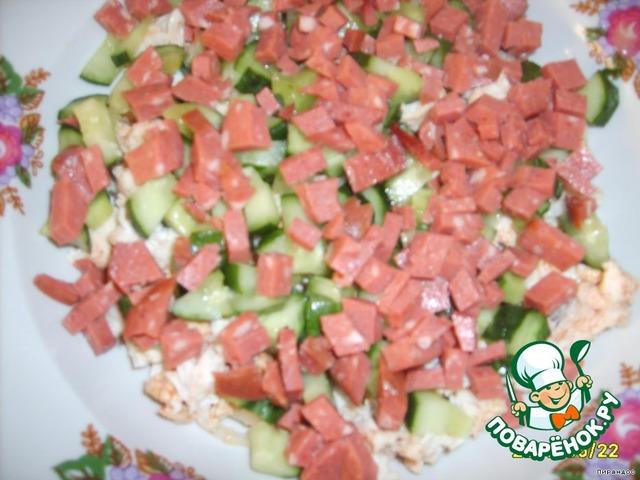 Салат с докторской колбасой фото