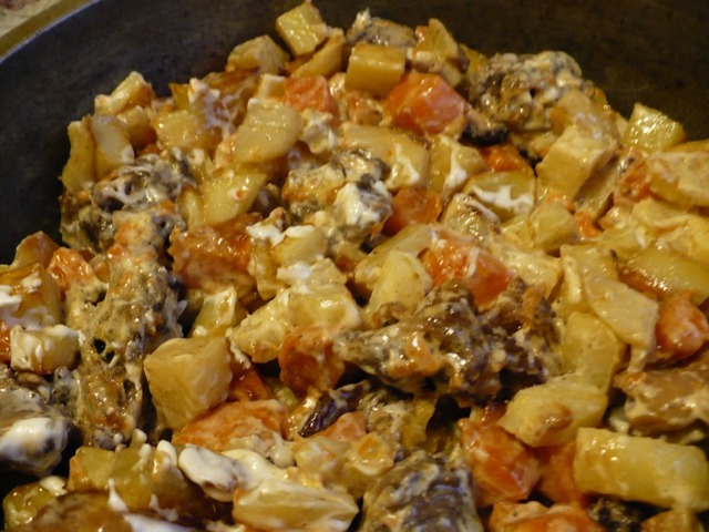 тыква с картошкой и фаршем в духовке