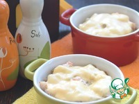 """Жульен """"Морской""""-грибы, креветки, лосось ингредиенты"""