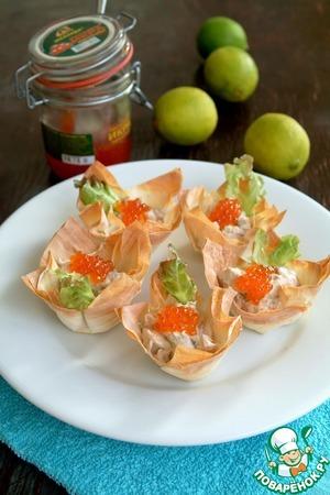 Рецепт Корзинки с пастой из тунца и творожного крема