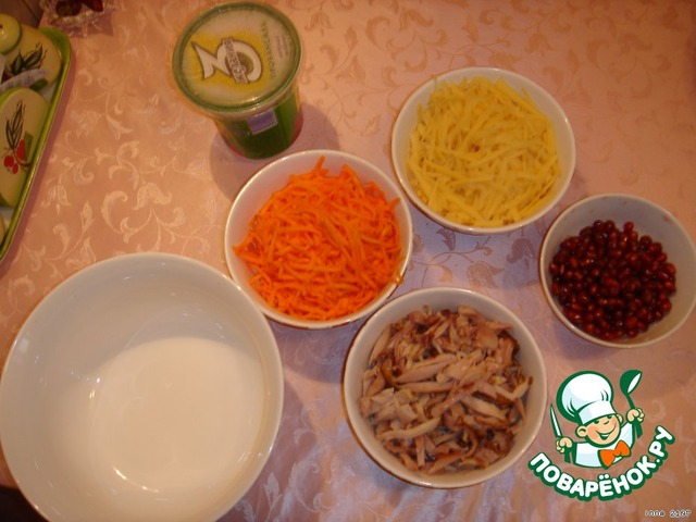 Салат с копченой курицей и опятами, рецепт