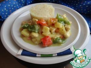 Рецепт Куриное филе с соусом карри и овощами