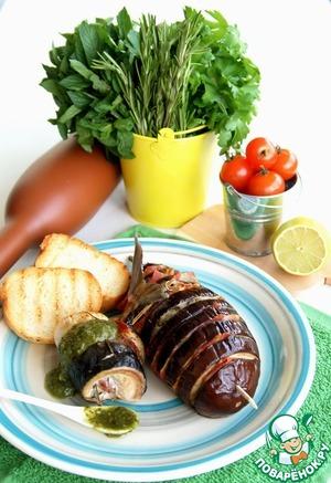 Рецепт Завиванец (рулет) из скумбрии с беконом, розмарином и баклажаном на гарнир