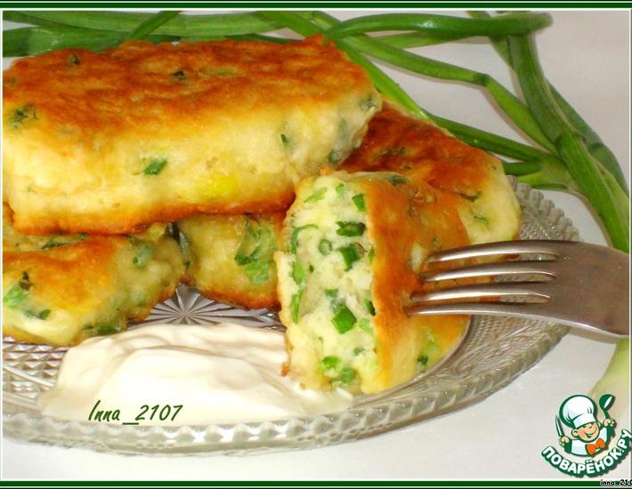Рецепт: Оладьи на кефире с зеленым луком