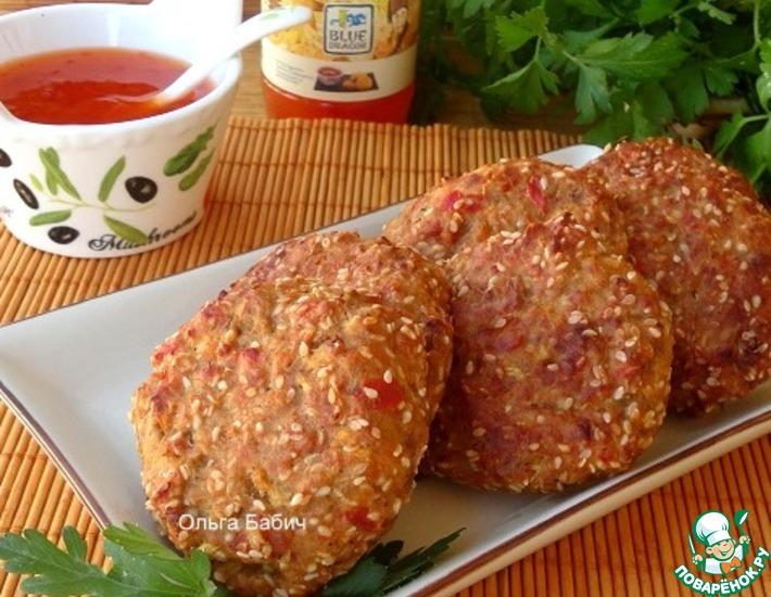 Рецепт: Котлеты из баклажанов и перца